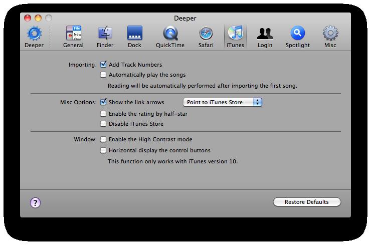 Deeper UI Tweaking Application Screenshot